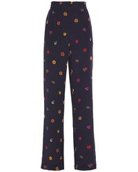 PS by Paul Smith Printed Silk Crepe De Chine Wide-leg Pants Navy - Blue