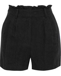 FRAME Gathered Linen-twill Shorts Black