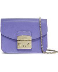 Furla Metropolis Textured-leather Shoulder Bag Lavender - Purple
