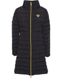 Love Moschino Appliquéd Quilted Shell Coat Black