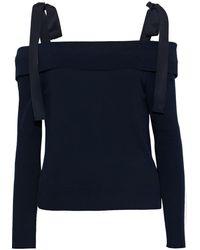 ADEAM Off-the-shoulder Grosgrain-trimmed Knitted Jumper - Blue