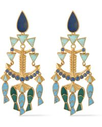 Tory Burch - Fish Statement Gold-tone Mother-of-pearl Clip Earrings - Lyst