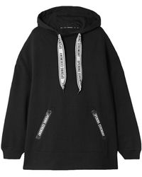 Opening Ceremony Oversized Printed Cotton-jersey Hoodie Black