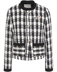 Maje Vicky Metallic Checked Cotton-blend Tweed Jacket Black