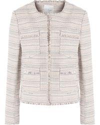 Joie - Fringe-trimmed Cotton-blend Tweed Jacket Pastel Pink - Lyst