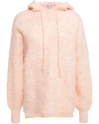 Ganni Callahan Mélange Brushed Knitted Hoodie Peach - Multicolor
