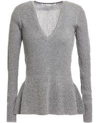 Veronica Beard Esmeralda Metallic Ribbed-knit Peplum Top Grey
