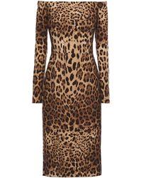 Dolce & Gabbana - Leopard Print Mini Shift Dress - Lyst