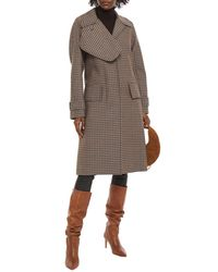 Victoria Beckham Checked Wool Coat - Black