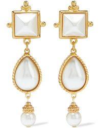 Ben-Amun 24-karat Gold-plated Faux Pearl Earrings Gold - Metallic