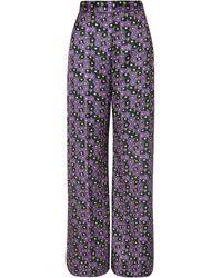 Lela Rose Floral-print Satin-twill Wide-leg Trousers - Purple