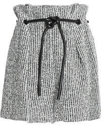 3.1 Phillip Lim - Faux Leather-trimmed Bouclé-tweed Shorts - Lyst