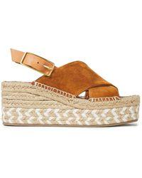 Rag & Bone Leather-trimmed Suede Wedge Espadrille Sandals Light Brown