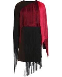 Lanvin - Layered Fringed Wool-blend Mini Dress - Lyst