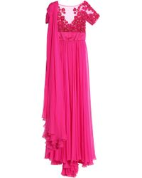 Zuhair Murad Draped Silk-blend Chiffon And Embellished Tulle Gown Bright Pink