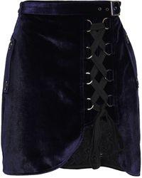 Self-Portrait - Lace-paneled Lace-up Velvet Mini Skirt Midnight Blue - Lyst
