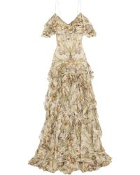 Alexander McQueen - Cold-shoulder Ruffled Floral-print Silk-georgette Gown - Lyst