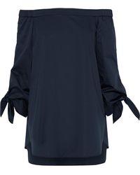 Tibi Off-the-shoulder Cotton-poplin Blouse Storm Blue
