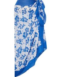 Solid & Striped Floral-print Voile Pareo Bright Blue