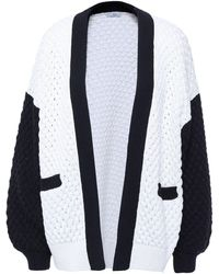 Co. Two-tone Silk And Tton-blend Cardigan White