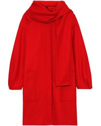 MSGM Scarf-detailed Wool-blend Coat Red