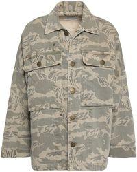 Current/Elliott - Printed Denim Jacket Army Green - Lyst