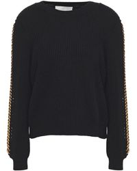 Michelle Mason Chain-trimmed Ribbed Cotton And Wool-blend Jumper Black