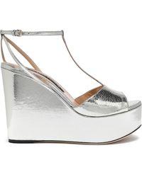 Sergio Rossi Metallic Cracked-leather Platform Sandals Silver