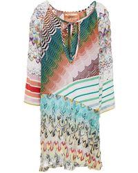 Missoni Panelled Metallic Crochet-knit Coverup - Green