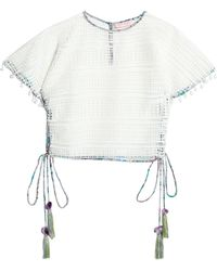 Matthew Williamson Woman Lace-up Pompom-trimmed Guipure Lace Top Off-white Size 14 Matthew Williamson 2018 New Cheap Price Cheap Original a3EKna