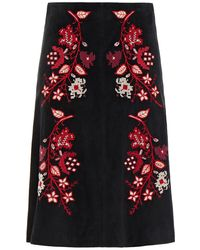 RED Valentino Embroidered Suede Skirt - Black