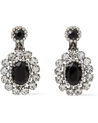 Kenneth Jay Lane Silver-tone Crystal Clip Earrings - Black