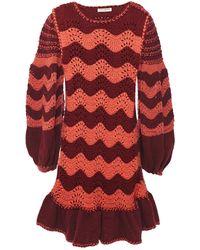 Ulla Johnson Florella Crocheted Cotton And Wool-blend Mini Dress Burgundy - Red