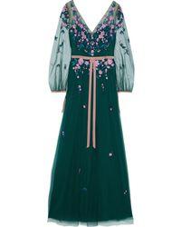 Marchesa notte Velvet-trimmed embellished tulle gown - Grün
