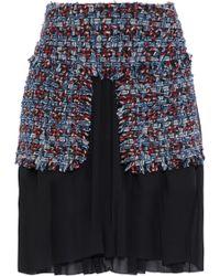 Sonia Rykiel - Layered Cotton-blend Tweed And Silk-chiffon Skirt - Lyst