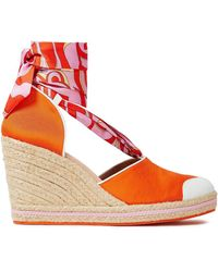 Emilio Pucci Leather-trimmed Printed Twill And Grosgrain Wedge Espadrilles Bright Orange