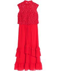 Mikael Aghal - Layered Crochet And Ruffled Chiffon Maxi Dress - Lyst