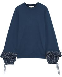 CLU Ruffled Checked Twill-trimmed French Cotton-terry Sweatshirt Blue