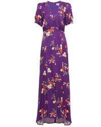 Paul & Joe Jaune Gathered Floral-print Satin-jacquard Maxi Dress - Purple