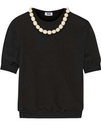 Boutique Moschino - Bead-embellished Wool And Cotton-blend Sweater - Lyst
