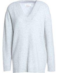 Zimmermann - Mélange Stretch-knit Sweater Light Gray - Lyst