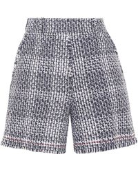 Thom Browne Checked Cotton-blend Tweed Shorts Navy - Blue