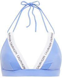 Calvin Klein Bedrucktes Triangel-bikini-oberteil Mit Gummibesatz - Blau