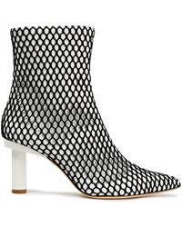Tibi Mesh-appliquéd Leather Ankle Boots - White