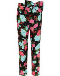 Erdem Bernardina Bow-detailed Floral-print Twill Slim-leg Trousers - Black