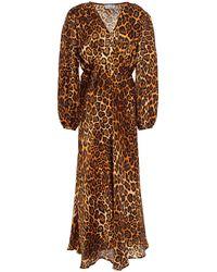 Paul & Joe Gathered Leopard-print Silk-satin Midi Dress Animal Print - Brown
