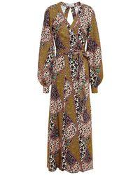 The Upside Kate Open-back Printed Woven Maxi Wrap Dress - Multicolour