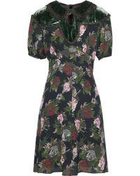 Anna Sui - Cutout Velvet-paneled Floral-print Silk Dress - Lyst