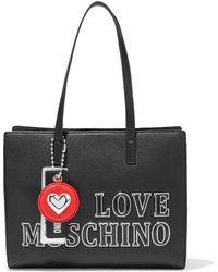 Love Moschino Tote bag aus kunstleder mit applikationen - Schwarz