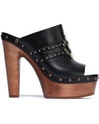Roberto Cavalli Embellished Leather Mules Black
